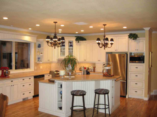 New kitchen with stools and island counter